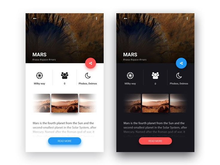 Planets app UI