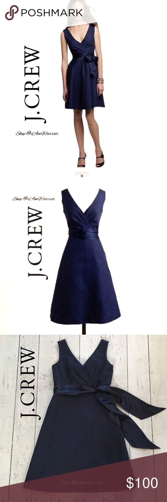J. Crew navy Serena cotton cady belted dress Classic and elegant J. Crew fully lined navy blue sleeveless cotton cady dress with satin tie belt. Can tie in back or in front. V-beck/surplice neckline, A-line silhouette. Excellent condition, smoke free home. Please read my bio regarding closet policies prior to any inquiries. J. Crew Dresses
