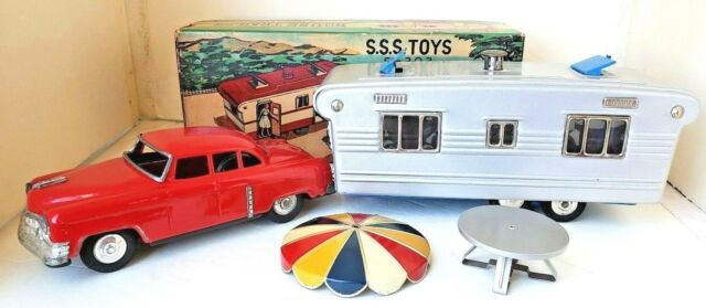 1950's Made in Japan Tin Cadillac with House Trailer, Original