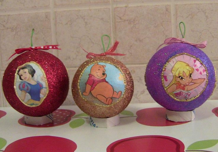 palline di Natale per i bimbi, glitterate.