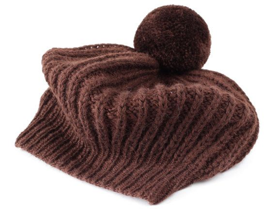 Brown French beret with a large pompon-Hand knitted Brown beret-hand Knitted beret-hand knitted hat-Hat Women-hand knit Hat-Alpaca-56cm.