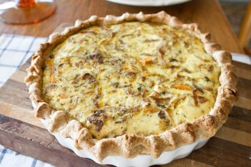 Roasted Sweet Potato, Caramelized Onion, and Gorgonzola Quiche