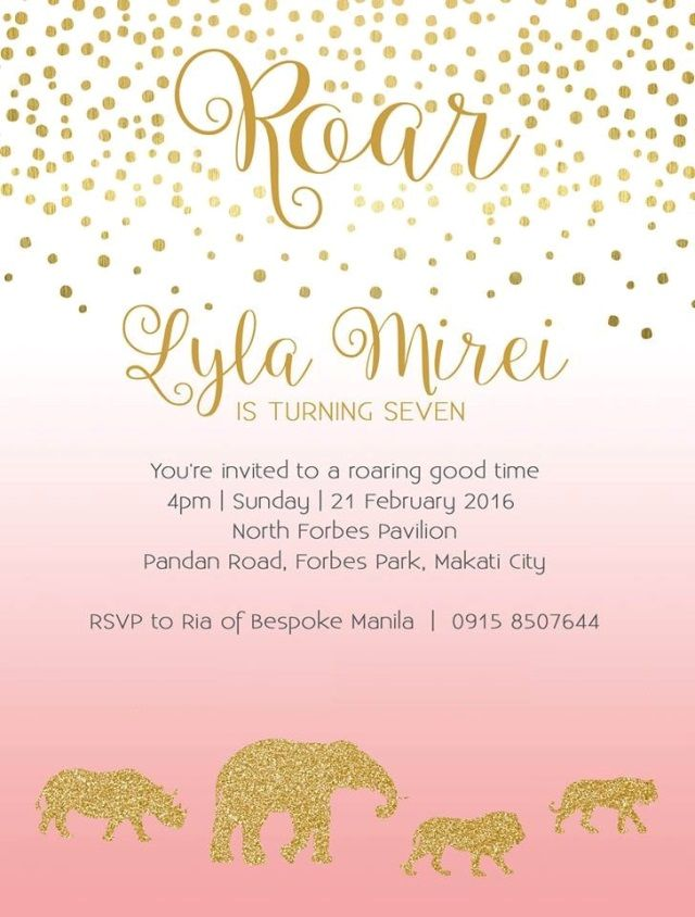 Lyla's Pink and Gold Jungle Safari Themed Party – Invites