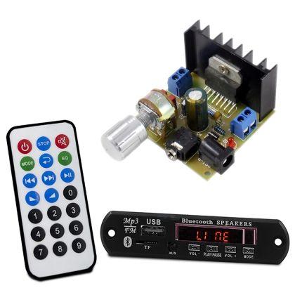 Kit Placa MP3 Player + Placa Amplificador Para Caixas Ativas - USB, SSD, Rádio FM, Bluetooth