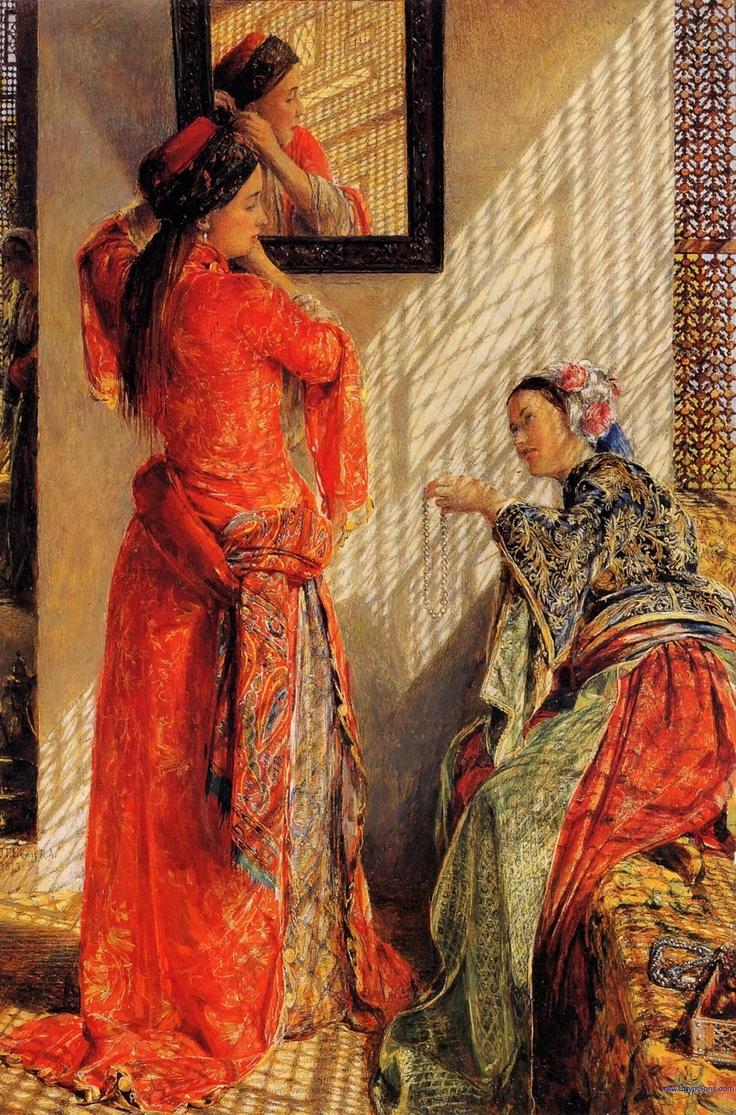 """peinture orientaliste UK : John Frederick Lewis, 1860s-1870s, """"Indoor gossip (Cairo)"""", intérieur"""