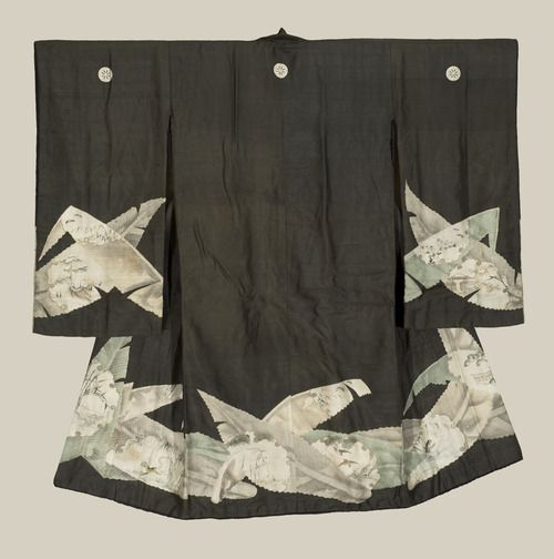 A very fine silk youth's kimono, featuring extremely-refined yuzen and sumi e patterns within graceful large bamboo-leaf outlines.  Mid-late Edo Period (1800-1850), Japan.  The Kimono Gallery