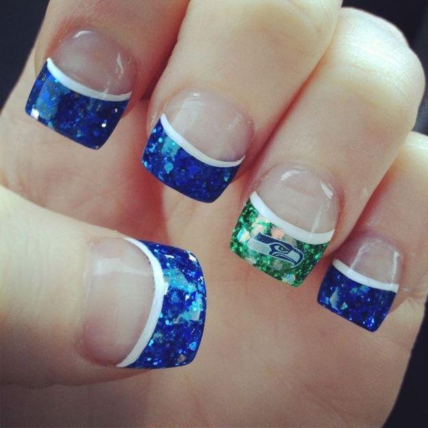 Go Seattle!  Super Bowl Nails
