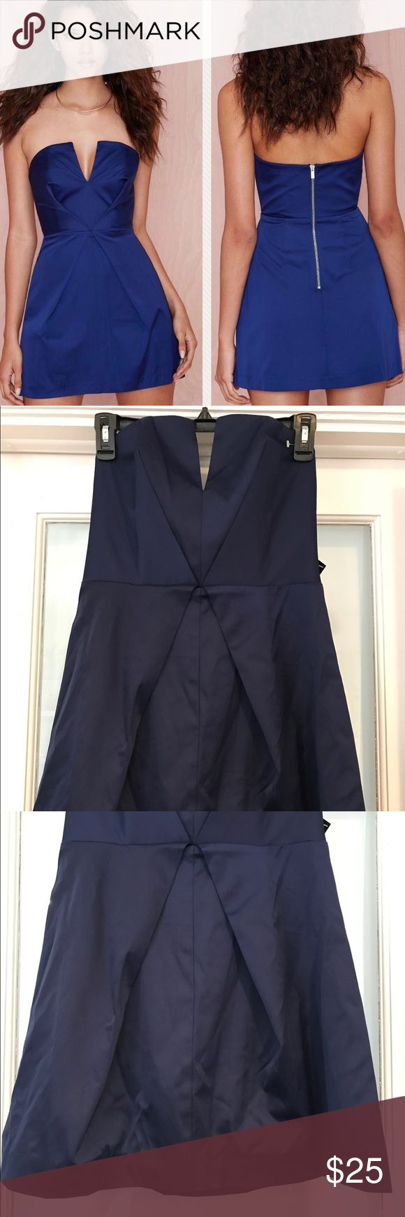 Nasty Gal Inside Out Dress Satin feel, Deep v-neck detail, exposed silver zipper closure. Price tag missing but has other tag attached. Never worn. In excellent condition. Color resembles stock photo, my phone couldn't capture the true color. Nasty Gal Dresses