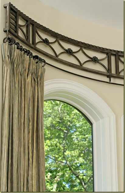Curved Curtain Rod Detail www.bluedesertinteriors.com