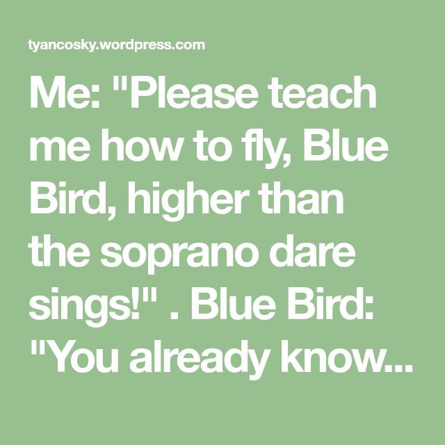 """Me: """"Please teach me how to fly, Blue Bird, higher than the soprano dare sings!"""" . Blue Bird: """"You already know how to fly, my dear; but rather, you must learn how not to injure your wings."""" Tamara Yancosky Moore Bullies Can Learn New Tricks! Give Me The Simple Life Definition of Unconditional Love"""