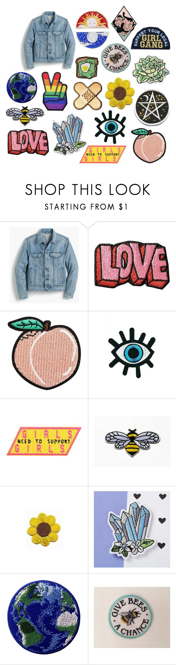 """""""Denim Jacket patches"""" by arosecoloredworld998 ❤ liked on Polyvore featuring J.Crew and Stoney Clover Lane"""