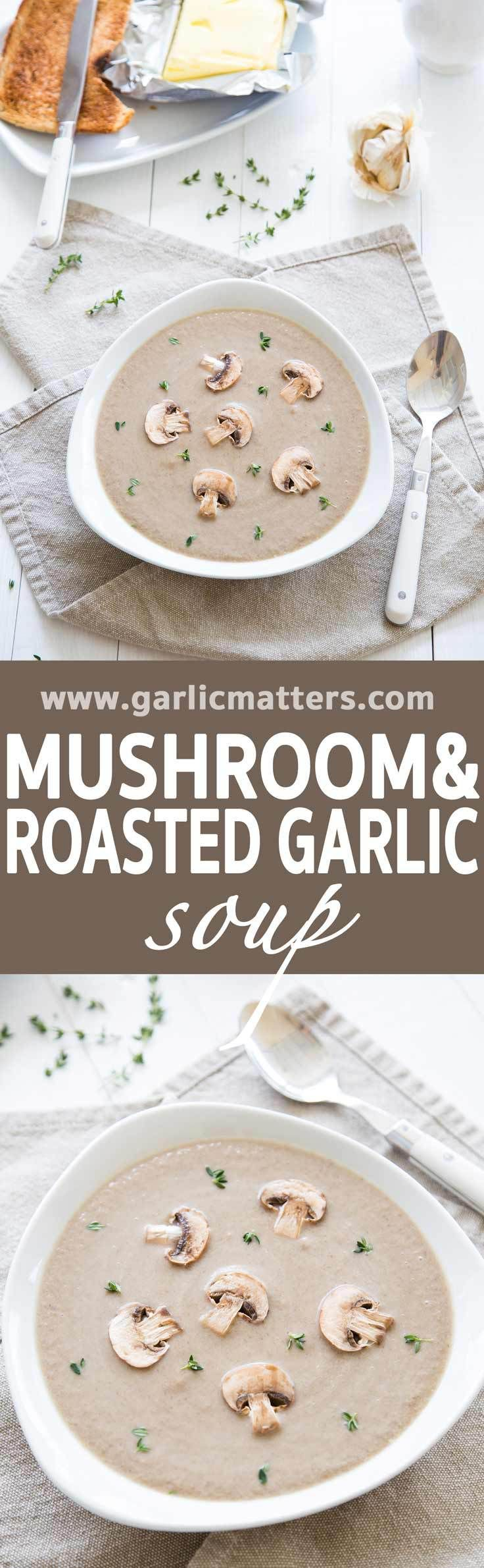 Mushroom and Roasted Garlic Soup recipe is like marriage made in heaven. Perfect, gluten free appetizer or add a slice of crusty bread to make it into a comforting lunch.  Full full of deep flavours of forest mushrooms and sweetness of roasted garlic. This soup is absolutely delicious and you can make it in just under 1 hour.