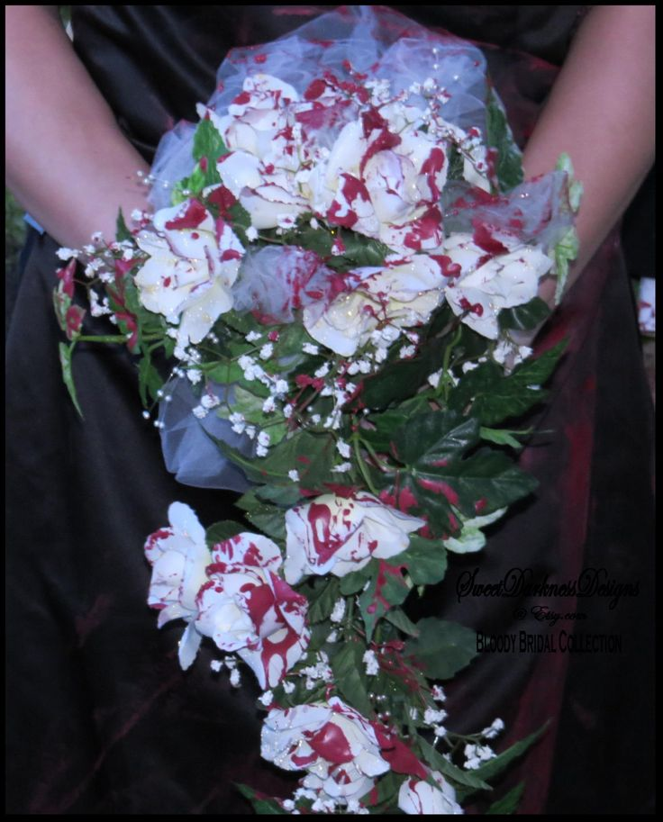Bloody BRIDAL BOUQUET Corpse Bridal Bouquet Vampire WHiTE ROSE tulle netting Pearls Ivy Hand Painted Halloween Bride by SweetDarknessDesigns by SweetDarknessDesigns on Etsy