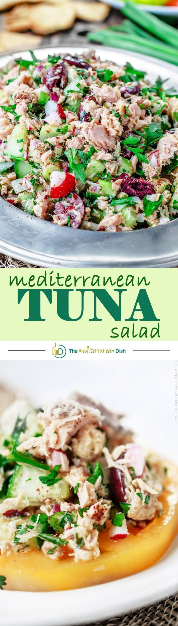 The BEST Mediterranean Tuna Salad with fresh herbs, chopped vegetables and a zesty Dijon vinaigrette! DELICIOUS! Perfect for potlucks, appetizer or even dinner! Just add pita pockets or pita chips and you're good to go!