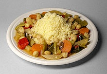 Fresh couscous with vegetables and chickpeas ::: NORTH AFRICA... including Morocco, Algeria, Libya, Tunisia, Mauritania, and Egypt.