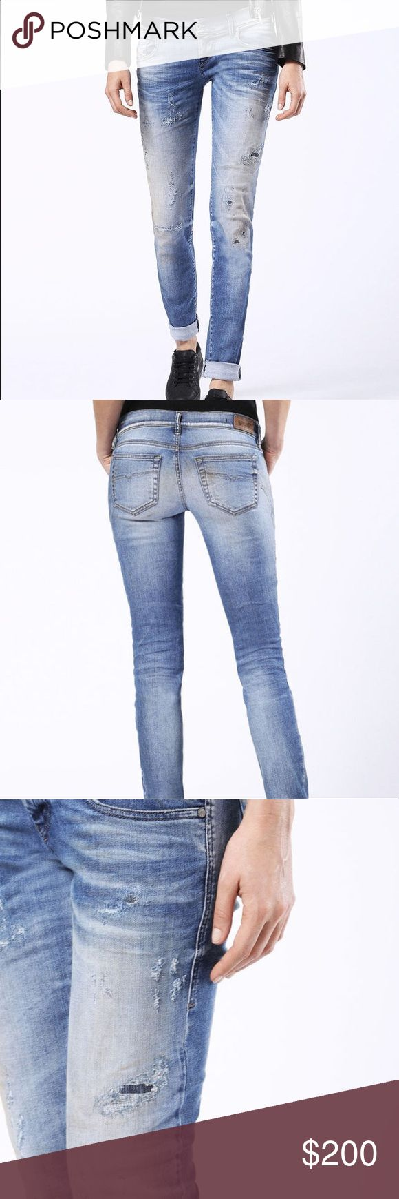Diesel Denim *Grupee* Style EUC SS'17 *like new* Diesel Denim Grupee Style Wash #0674M Super Slim-Skinny Low Waist w/ Stretch Sz. W28 L30 I normally wear a 27 in denim but these run smaller so I went with a 28. EUC only worn a handful of times. Diesel Denim lasts forever and is all hand distressed. This pair was made in ITALY. Diesel Pants Skinny