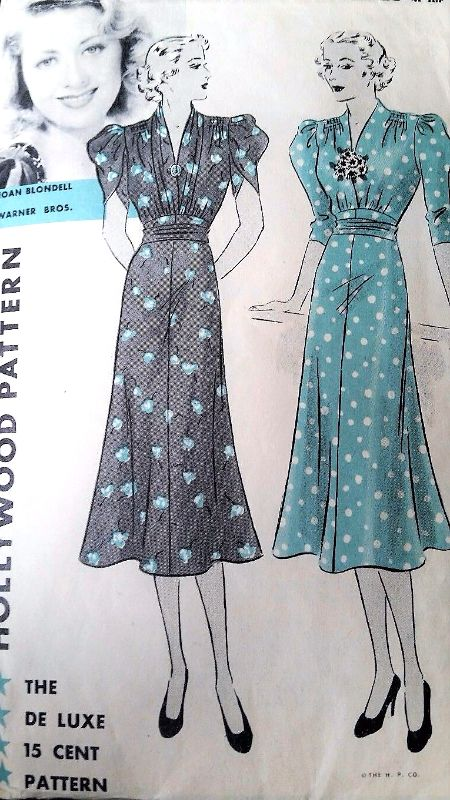 1930s BEAUTIFUL Dress Pattern Hollywood 1326 Featuring Starlet Joan Blondell,Day or Party Dress Shirred Shoulders Tulip Puff Sleeves Bust 38 Vintage Sewing Pattern