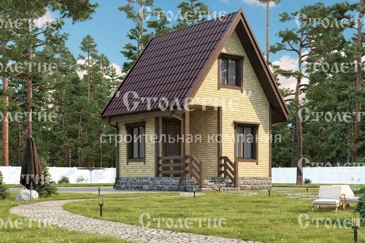 Проект дома ДБ-07 размером 4 на 4 метра в цветом решении Кирпич