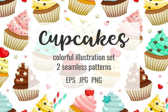 Cupcakes set & patterns by primula on @creativemarket