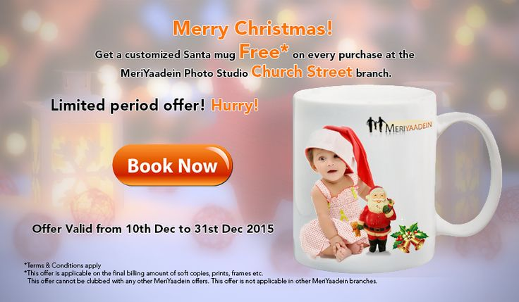 Get a customized Santa mug Free* on every purchase only at MeriYaadein Photo Studio Church Street branch. Hurry!