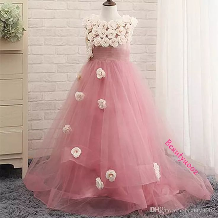 Stunning Real Photos Handmade Flowers Girls Pageant Dresses Pink Purple Watermelon Tulle Long Sheer Back A Line Party Birthday Gown 2017 Cheap Flower Girls Dresses Cheap Pageant Dresses For Little Girls From Beautyu002, $82.32| Dhgate.Com