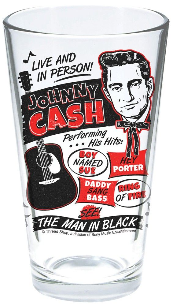 """Now you can stay cool and refreshed one drink at a time with Johnny Cash. This double-sided, screen printed, glass tumbler features a young Johnny Cash image, his famous guitar, and vintage concert poster inspired art! Holds 16oz and is 5.75"""" tall."""