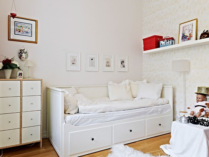 Cute For Small Kids Room   Ikea HEMNES Daybed Frame With 3 Drawers In  White, LACK Wall Shelf In White