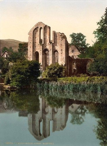 """Valle Crucis Abbey, Llangollen, Wales. Valle Crucis is Latin for """"Valley of the Cross."""""""