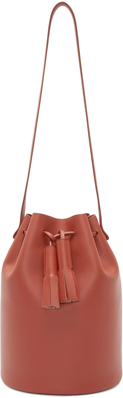 Building Block Red Leather Bucket Bag