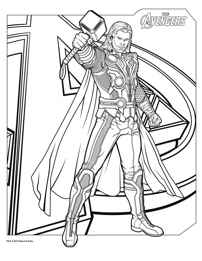 Superhero Coloring Pages Avengers : Coloriage thor the avengers http papa ueur