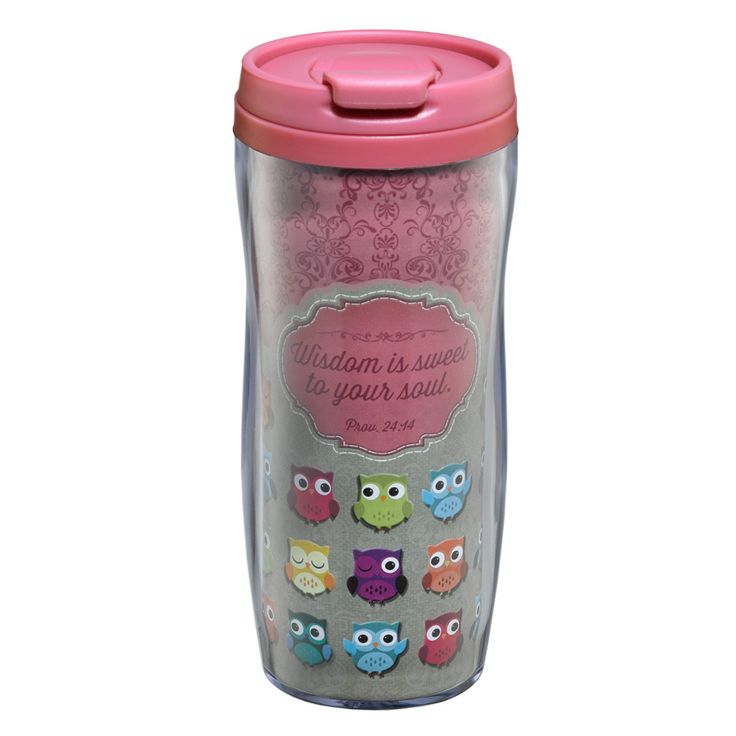 """Polymer Travel Mug """"Wisdom is Sweet""""  Pink and Brown  Owls  Hand Wash - Do Not Microwave  * 12 Oz. Capacity * 7 Inch Tall * Non-Slip Base * Pop-Up Lid Feature * Fits Most Car & Truck Beverage Holders * Plastic * BPA Free / Food Grade Safe  PRICE: R120 per Mug."""