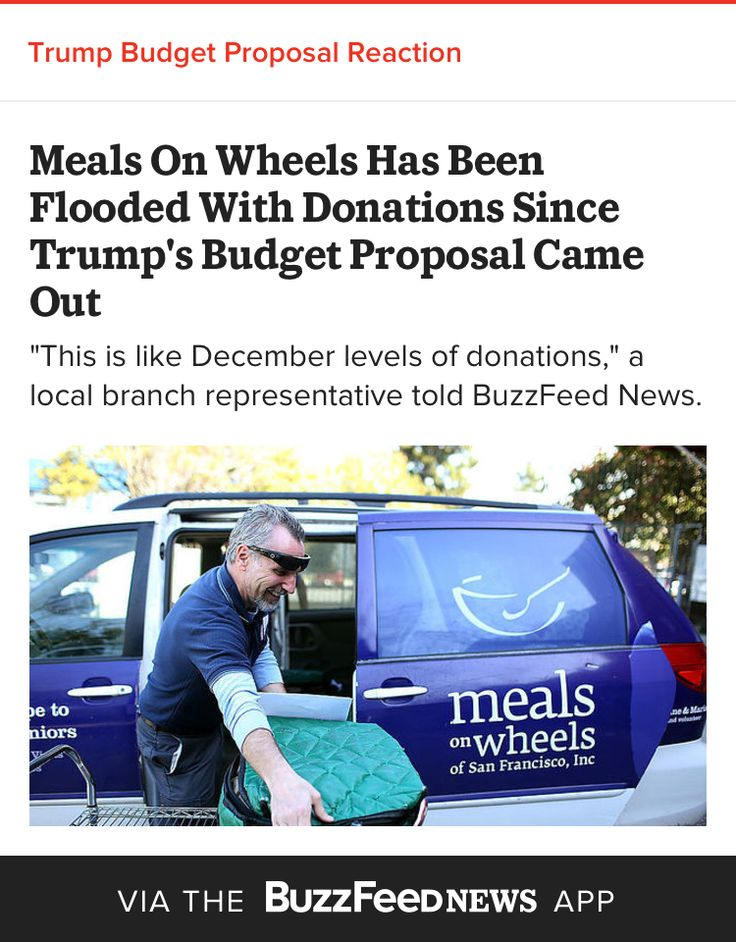 Meals On Wheels Has Been Flooded With Donations Since Trumpu0027s - budget proposal