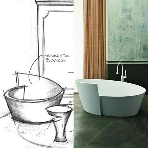 How is a #MastellaDesign collection born? here's a #sketch for Anahita #bathtub! #fromsketchtoproduct #sketches #project #design #bathdesign #desigbath #bathroom #interiors #interiordesign #italiandesign #homedecor #luxury #dreambathroom #backstage #idea #concept #archilovers