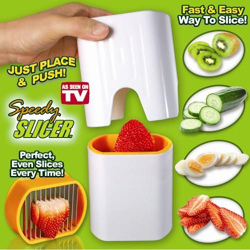 Speedy Slicer™ Save time and energy when cutting fruits and vegetables.