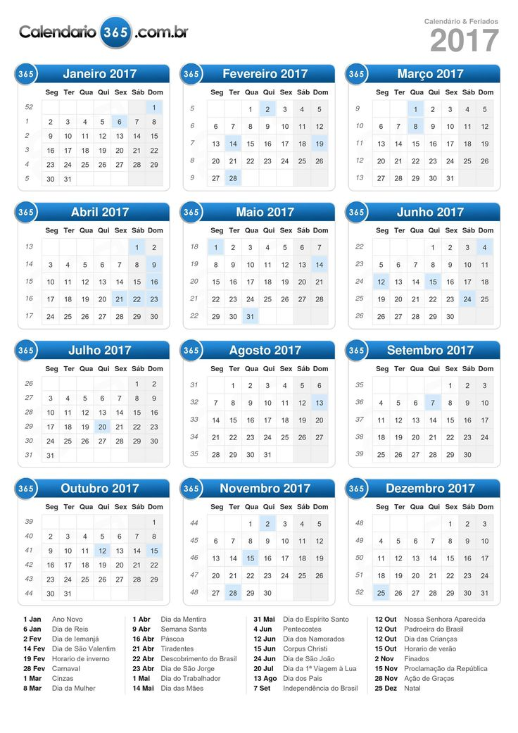 Calendário 2017 (formato de retrato)