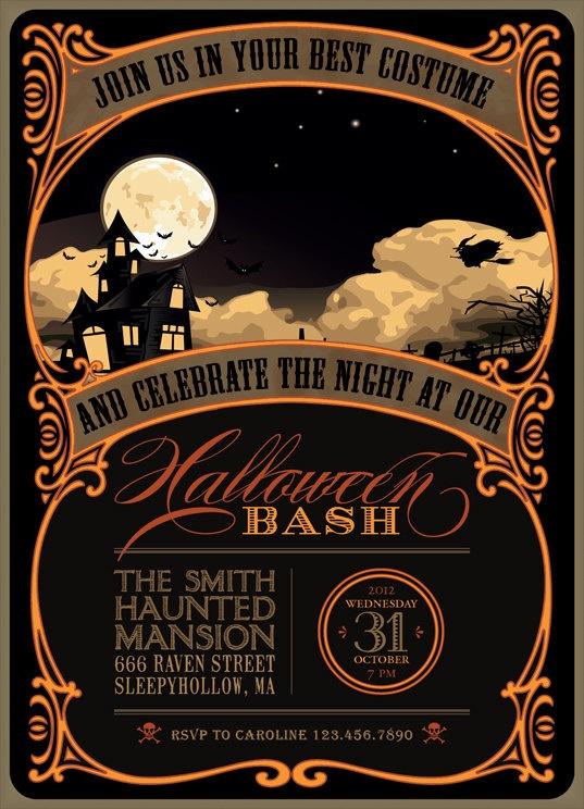 Printable Halloween Invitation in black, orange and yellow - DIY party invitation. $15.00, via Etsy.