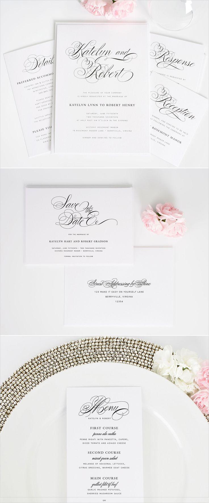 Southern script wedding invitations