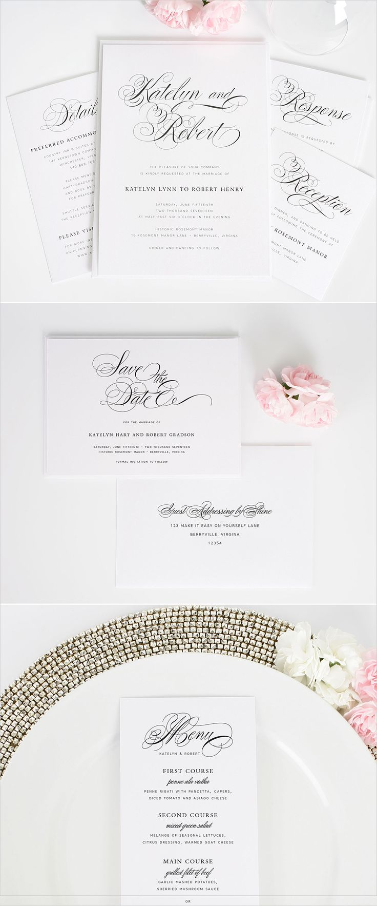 Southern script wedding invitations