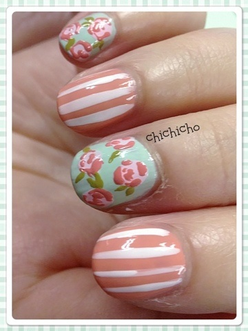 Floral and Stripes | chichicho~ nail art addicts