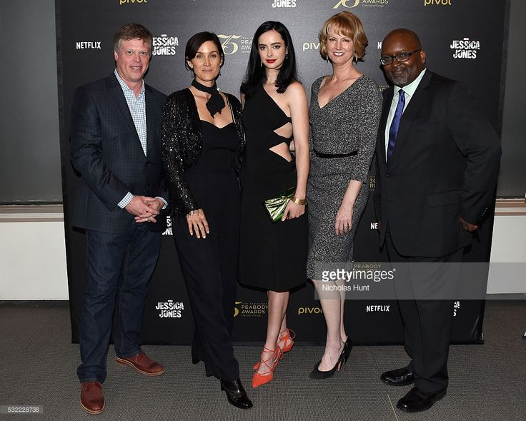 Dr. Jeffrey Jones, Carrie-Anne Moss, Krysten Ritter, Melissa Rosenberg, and Eric Deggans attend a cast and crew discussion with Marvel's 'Jessica Jones' at the New York Institute of Technology on May 18, 2016 in New York City.