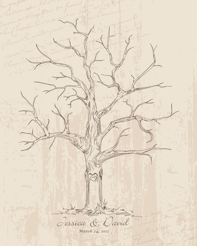 Life Of Lorin Our Wedding Tree: Guest Book Wedding Tree Poster Thumbprint Wedding Tree