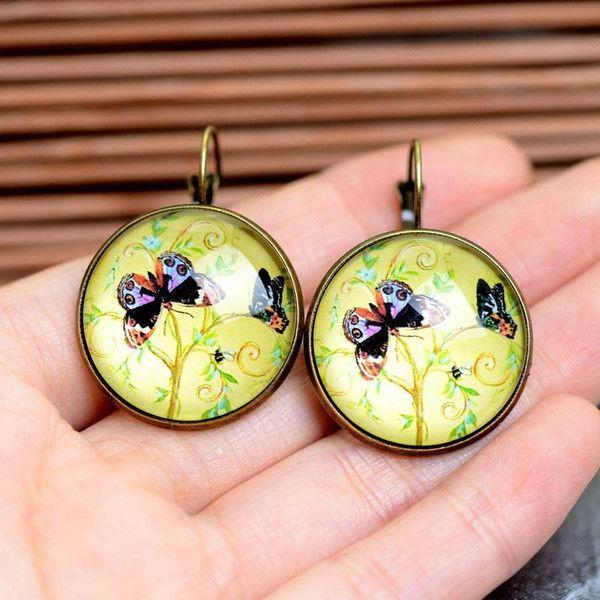 Glas Ohrringe lieben baum,Schmetterlin old gold 25 von Schmuck auf DaWanda.com