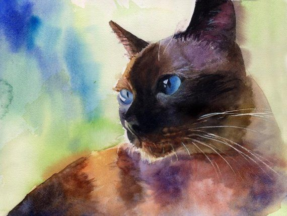 Applehead Siamese cat art Print of my watercolor by rachelsstudio, $25.00