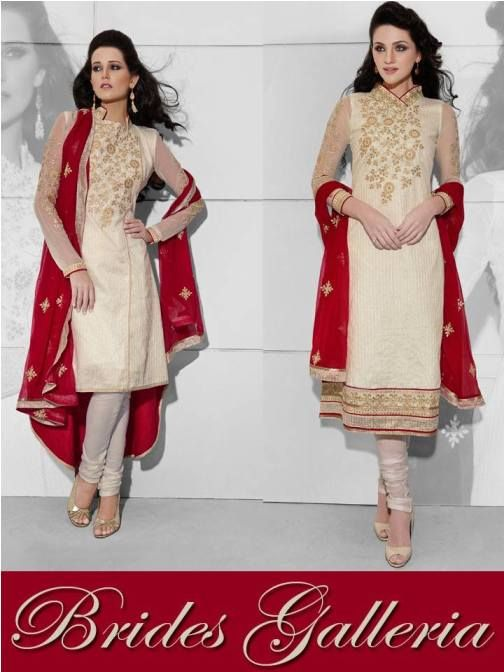 Indian Designer Cream Cotton Simple & Straight Cut Embroidered Punjabi Suits 2014-15 For Girls (2)
