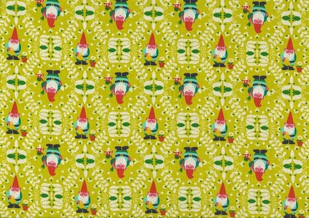 Stoff Baumwolle Beppo Zwerge Ornamente grün gelb