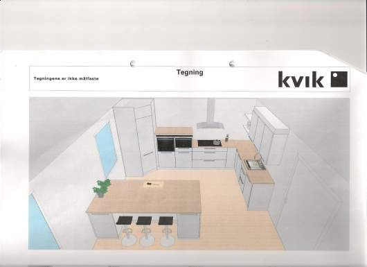 Kjøkkenøy med sitteplass fra Kvik. Si