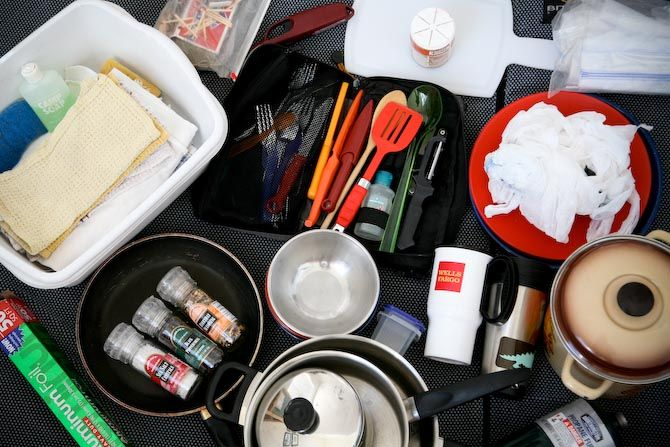 Make Camping Less Stress: Build a Mobile Kitchen... Good list for family