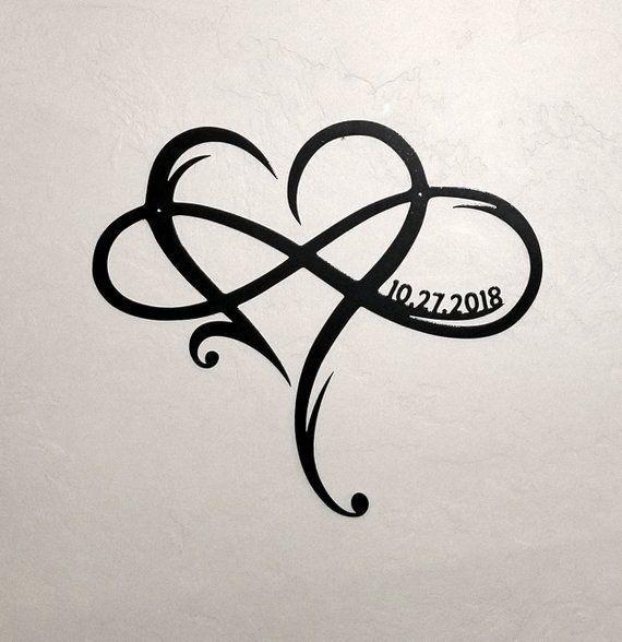 Metall Unendlichkeitssymbol mit Herz und benutzerdefinierte Hochzeit Datum Wand Dekor Hochzei…