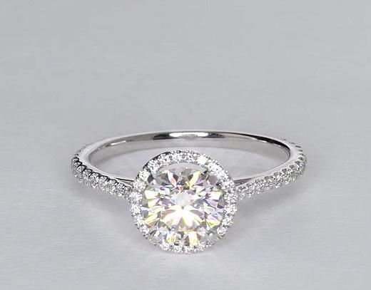 1.35 Carat Diamond Floating Halo Diamond Engagement Ring | Recently Purchased | Blue Nile