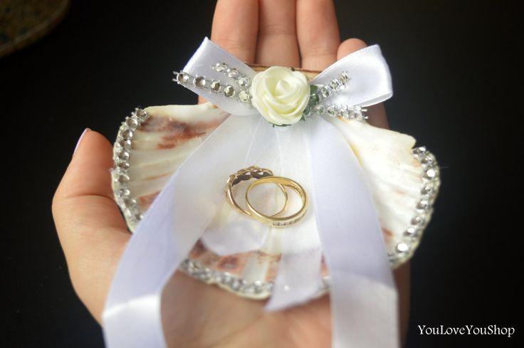 Trendy Beach Wedding Ring Bearer Sea Shell wedding accessories , Beach Wedding Ring Bearer Pillow, Wedding Ring Holder, Wedding Ring Dish by YouLoveYouShop on Etsy